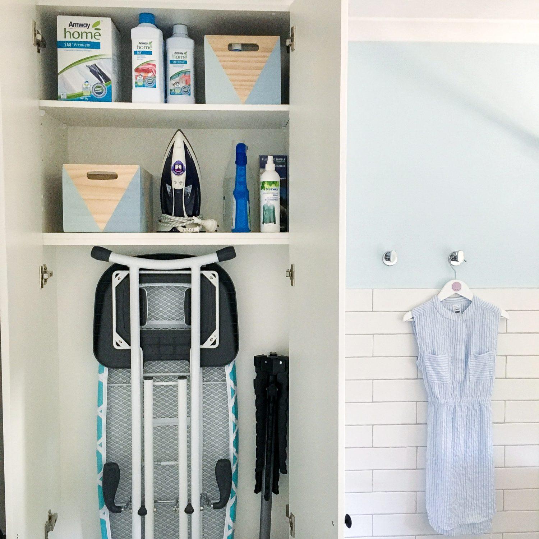 Cupboard Organisation in combined laundry & bathroom - The Organising Bee