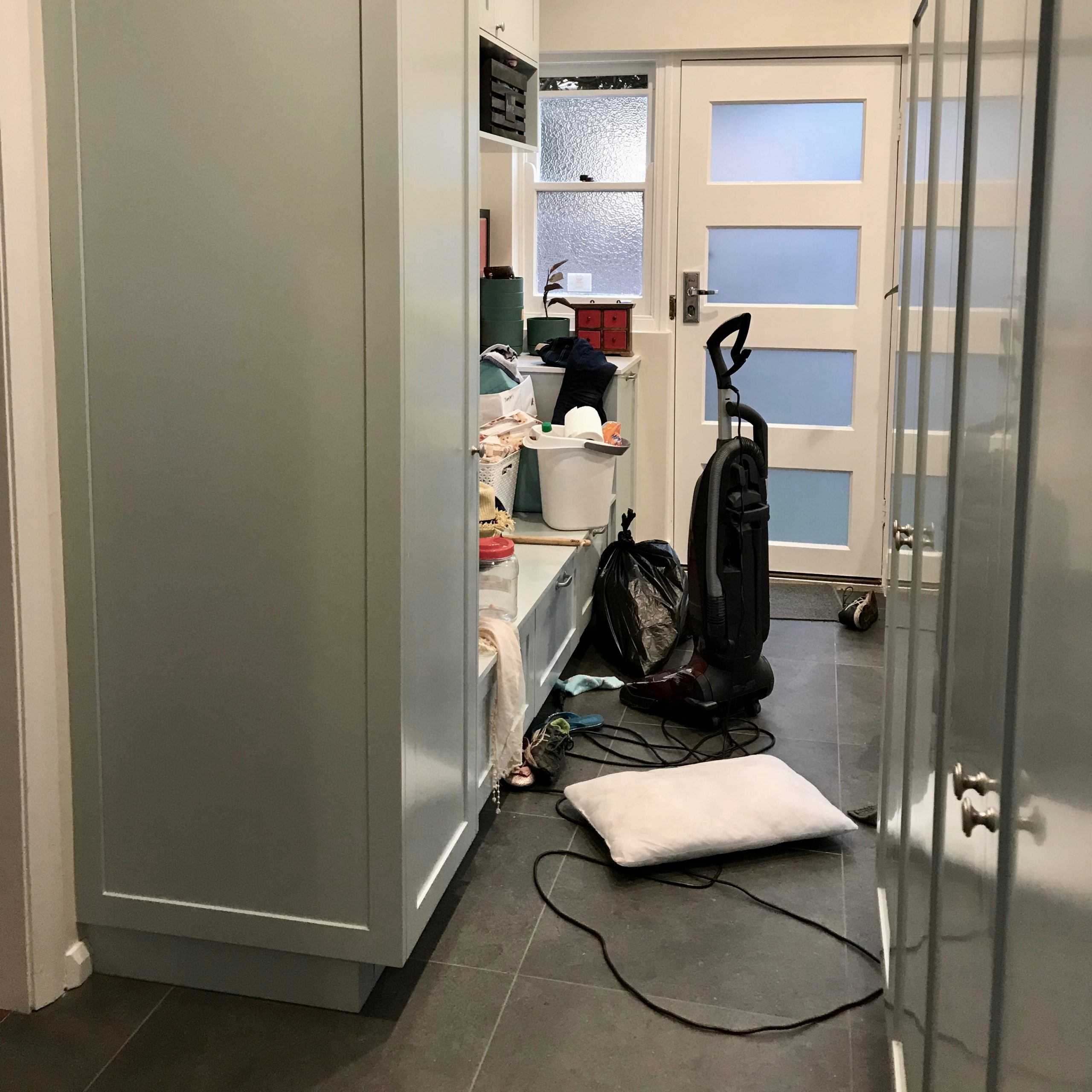 Drop Zone and Mudroom Organisation Before - The Organising Bee Canberra