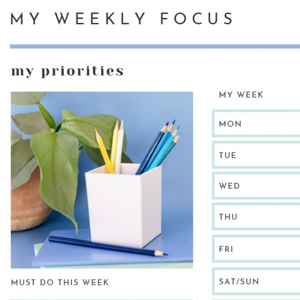 My Weekly Focus Planner Close up - The Organising Bee Canberra