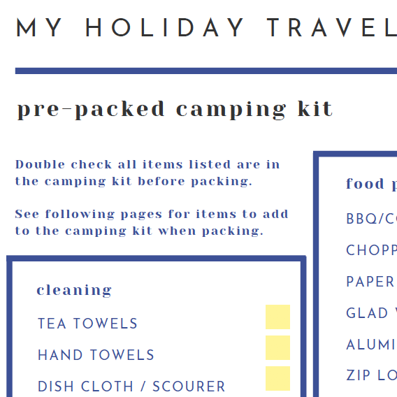 Holiday Travel Kit Checklist - The Organising Bee Canberra