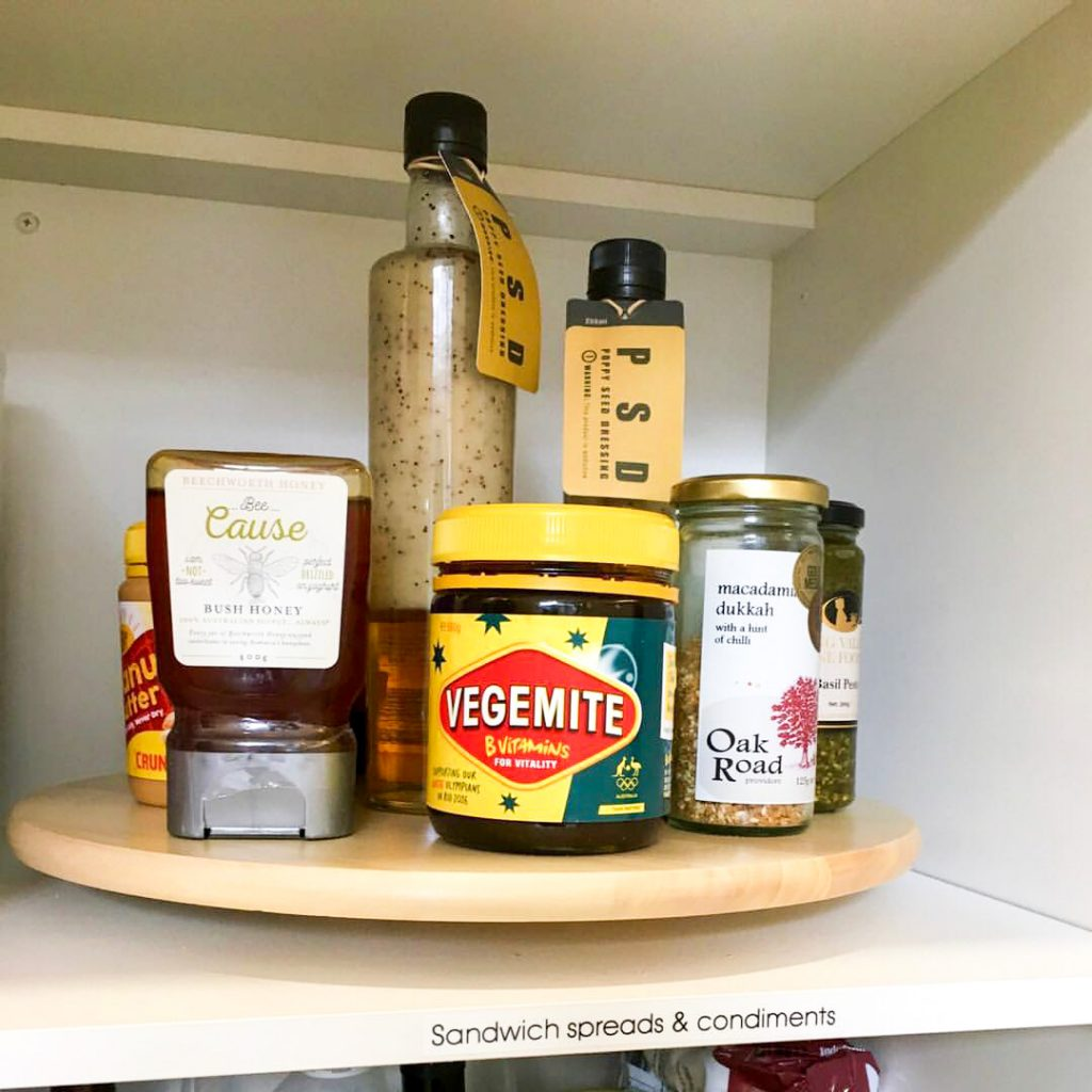 Organising condiments in a pantry